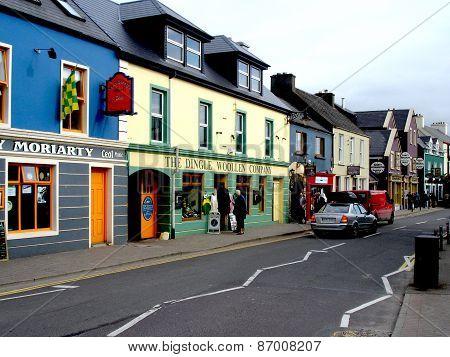 Colorful Strand Street in Dingle, Ireland: Circa September, 2008