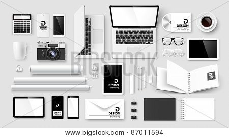 Mock Up set of corporate identity and branding on light background. Vector illustration