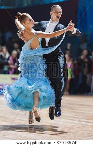 Minsk, Belarus-february 15, 2015: Asonov Ilya And Asonova Alena From Russia Performs Adult Standard