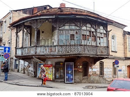 Tbilisi, Georgia-Feb,26 2015: The Oldest house with a traditional balcony in tha Old City, Tbilisi