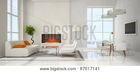 Panoramic view on the modern interior 3D rendering