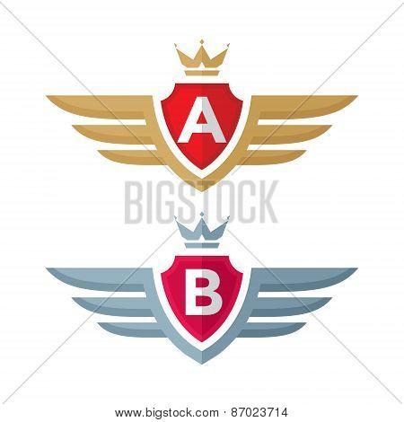Vintage badge - vector logo concept illustration. Shield, crown, wings and monogram.