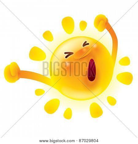 Summer sun stretching. Waking up. Yawning.