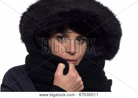 Girl with winter coat
