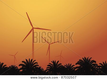 Wind Turbine Against The Sunset Background