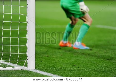 Soccer Goal With Goalkeeper In Background