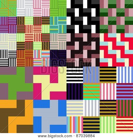 Abstract varied colorful geometrical chequered tileable pattern poster