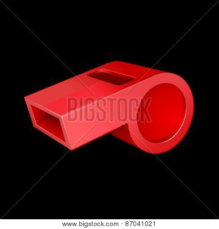 red whistle isolated on black 10eps