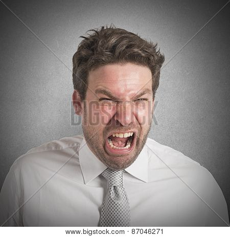 Pissed man screams