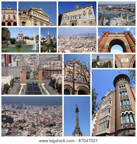 Barcelona Spain photo collage. Collage includes major landmarks like Placa Espanya Barceloneta and Parliament of Catalonia. poster