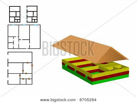 Vector Illustration The Color Drawing Of The House