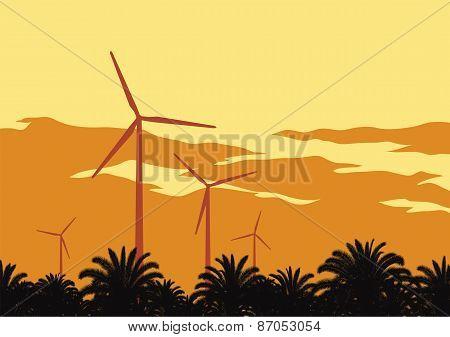 Wind Turbines And Orange Sky