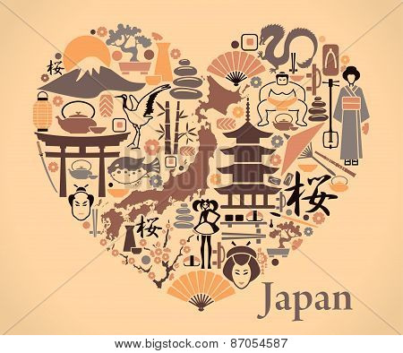 Japan icons in the form of a heart