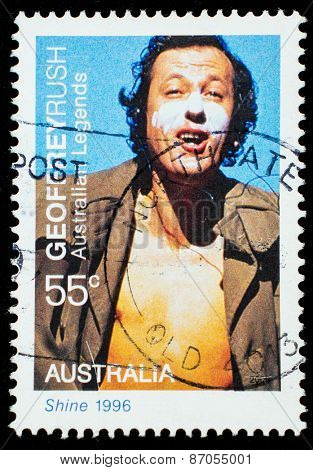 AUSTRALIA - CIRCA 2009: A postage stamp printed in Australia showing an image of actor Geoffrey Rush, circa 2009.
