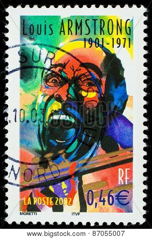 FRANCE - CIRCA 2002: a postage stamp printed in France showing an image of Louis Armstrong, circa 2002.
