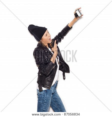 Girl Making Selfie With Noname Vintage Camera