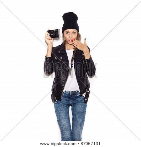 Surprised Young Woman Making Photo Using Professional Camera.