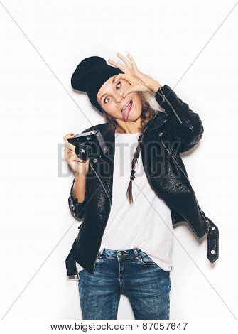 Hipster Girl In Hat Having Fun With Vintage Noname Camera