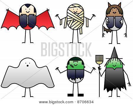 Six halloween cartoons