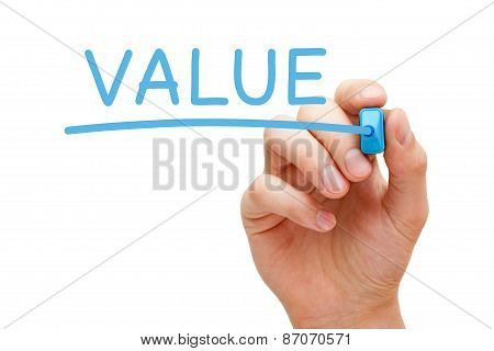 Hand writing Value with blue marker on transparent wipe board. poster