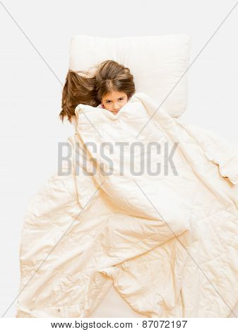 Isolated Photo Of Girl Lying In Bed And Covering With Blanket