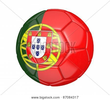 Soccer ball, or football, with the country flag of Portugal