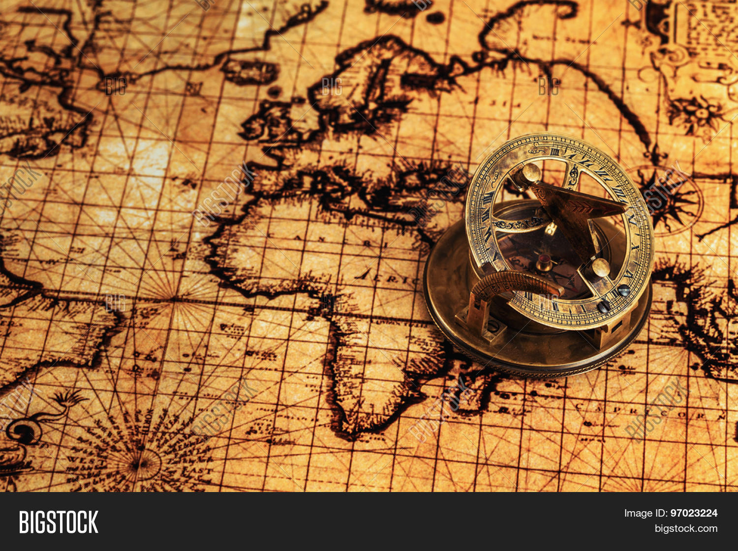 Travel geography image photo free trial bigstock travel geography navigation concept background old vintage retro compass with sundial on ancient world map gumiabroncs Images