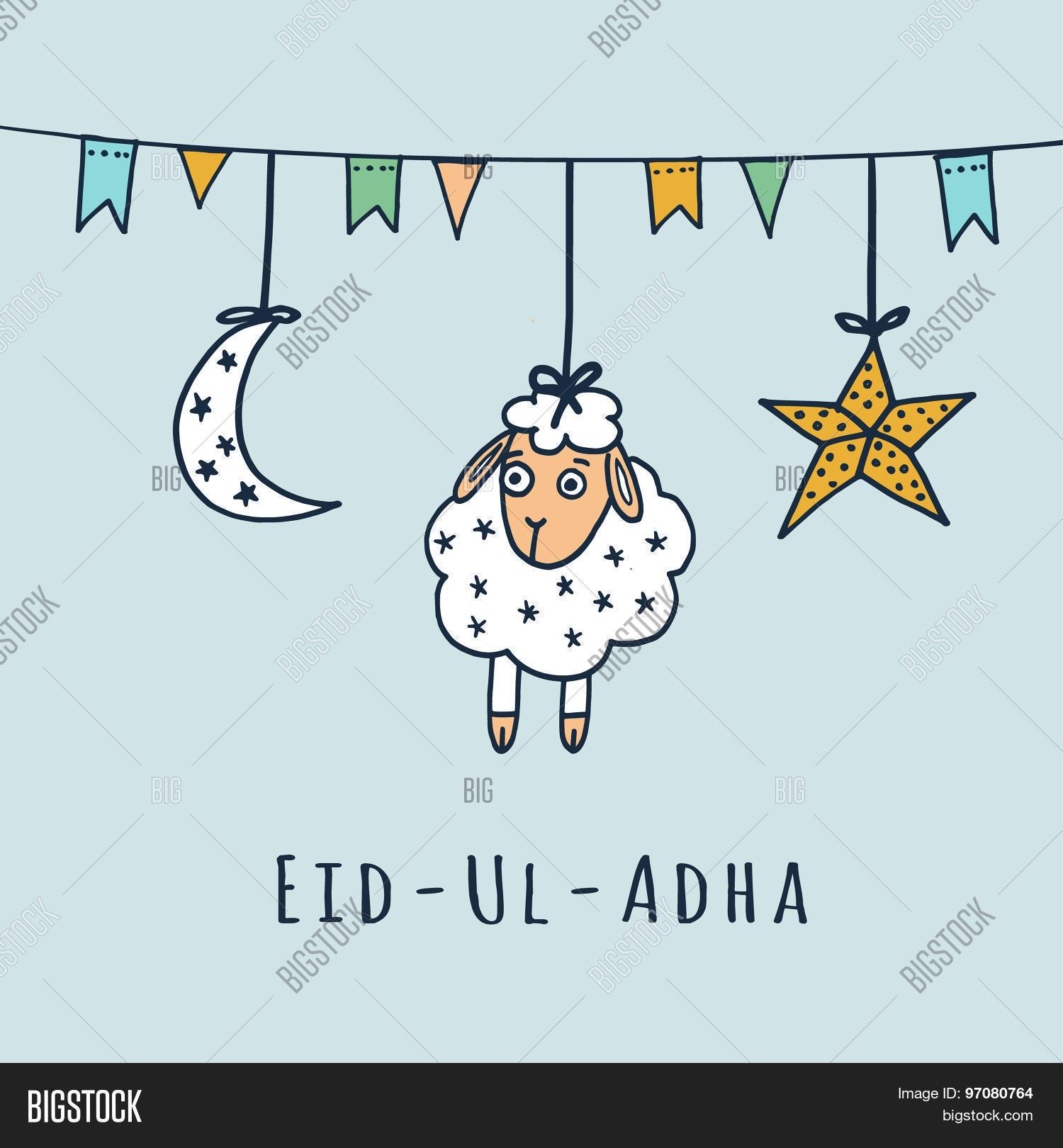 Eid ul adha greeting card sheep vector photo bigstock eid ul adha greeting card with sheep moon star vector kristyandbryce Images