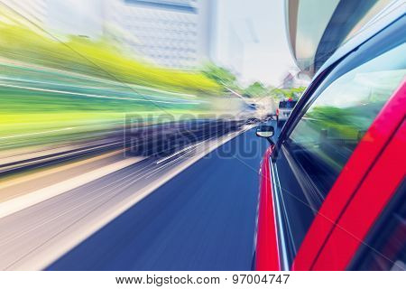 Driving Through The City By Taxi