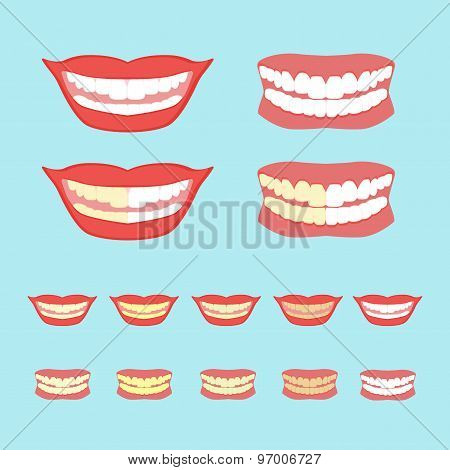 Whitening teeth vector illustration isolated on blue background
