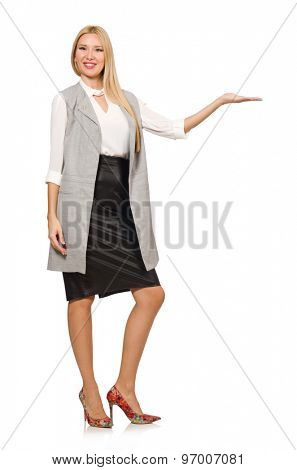 Pretty woman in leather skirt isolated on white poster