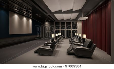 Modern private home cinema system with beamer and canvas and many chairs (3D Rendering)