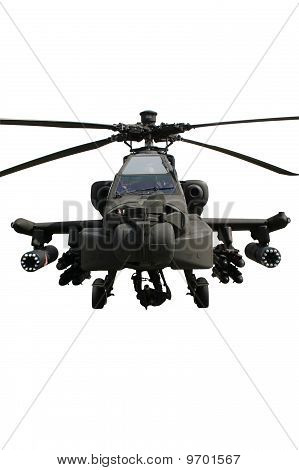 Fully armed army AH-64 Apache attack helicopter isolated on white poster
