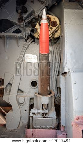 Large piece of ammo on a battle ship