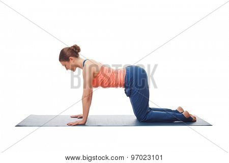 Beautiful sporty fit yogini woman practices yoga asana bitilasana - cow pose gentle warm up for spine (also called cat-cow pose)