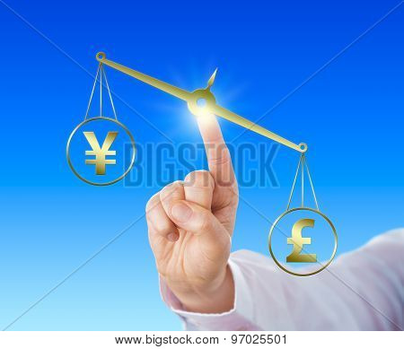 British Pound Sterling symbol is outweighing the Japanese Yen currency sign on a golden scale. Index finger of a white collar worker is touching the balance. Financial metaphor for forex trading. poster