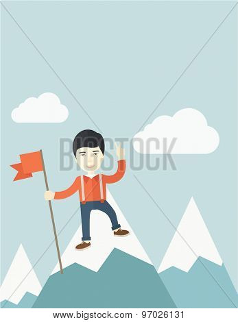 A happy chinese businessman standing on the top of a mountain with snow holding a red flag. Cheerful, winner and leader concept. A Contemporary style with pastel palette, soft blue tinted background
