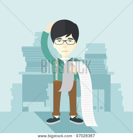 A sad japanese employee  standing holding a paper feels headache and worries about paying a lot of bills. Problem, worries concept. A contemporary style with pastel palette soft blue tinted background