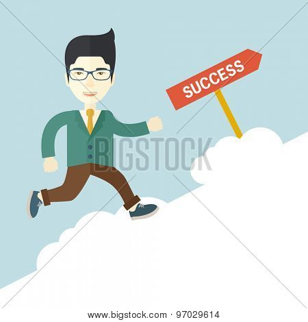 A happy chinese businessman smiling while jumping above the cloud for his succeess. Business growth concept. A Contemporary style with pastel palette, soft blue tinted background. Vector flat design