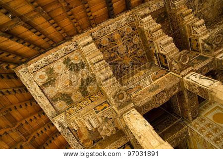 Decorated wooden roof