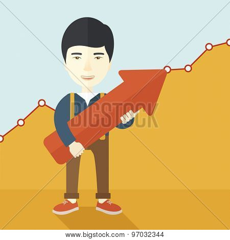 A happy and lucky young chinese guy holding arrow growing sign, successful in business career. Prosperity concept. A contemporary style with pastel palette soft yellow and blue tinted background