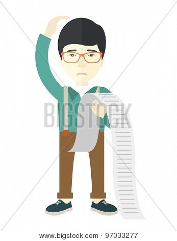 A sad japanese employee  standing holding a paper feels headache and worries about paying a lot of bills. Problem, worries concept. A Contemporary style. Vector flat design illustration isolated white