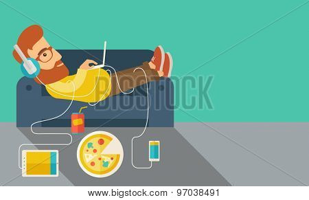 A Young caucasian man with headphone lie on the sofa listening music with pizza. Contemporary style with pastel palette, soft green tinted background. Vector flat design illustrations. Horizontal