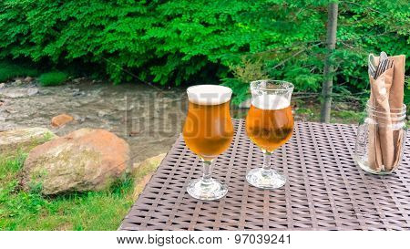 frosty beer in glasses