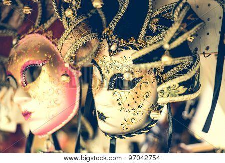 amazing carnival masks for traditional Venetian carnival fest poster