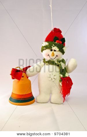 Snowman With Orange Bell