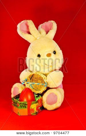 Easter Bunny On Red Background