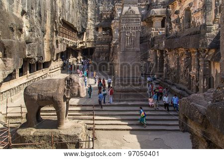 ELLORA, INDIA - 14 JANUARY 2015: North side of Kailasa temple part of Ellora Caves. Also known as Kailasanatha temple one of biggest rock-cut ancient Hindu temples.