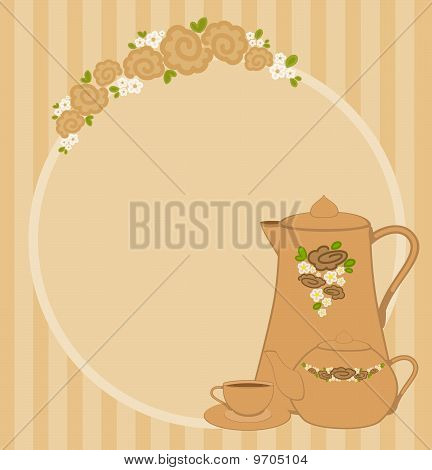 Vector illustration with beautiful cups and tea-pots