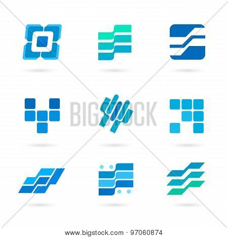Set-of-blue-icons-isolated-on-white-background